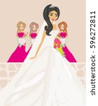 bride with bridesmaids | Shutterstock .eps vector #596272811