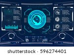 radar screen. vector... | Shutterstock .eps vector #596274401