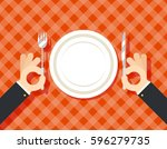 food restaurant promotion hands ... | Shutterstock .eps vector #596279735