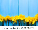 yellow daffodils on wooden... | Shutterstock . vector #596283575