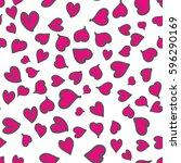 seamless pattern of hearts....   Shutterstock .eps vector #596290169