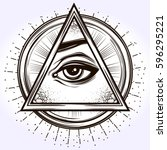 hand drawn eye of providence.... | Shutterstock .eps vector #596295221