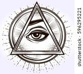 hand drawn eye of providence.... | Shutterstock .eps vector #596295221