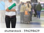 injured woman with green cast... | Shutterstock . vector #596298629