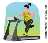 obese young woman running on... | Shutterstock .eps vector #596307785
