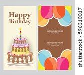 happy birthday card | Shutterstock .eps vector #596310017