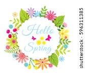 hello spring green card design  ... | Shutterstock .eps vector #596311385