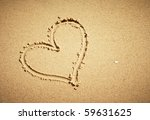 Heart Drawn On Sand. Horizonta...