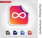 infinity icon. button with... | Shutterstock .eps vector #596316761