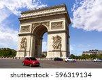 arc de triomphe in paris arch...   Shutterstock . vector #596319134
