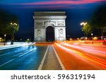 arc de triomphe in paris arch... | Shutterstock . vector #596319194