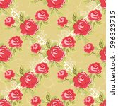 seamless floral pattern with... | Shutterstock .eps vector #596323715