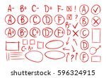 hand drawn grade results  check ... | Shutterstock .eps vector #596324915