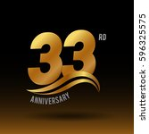 33 years golden anniversary...   Shutterstock .eps vector #596325575