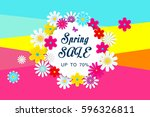 spring sale with beautiful... | Shutterstock .eps vector #596326811