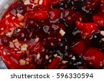 berry cake with strawberry ... | Shutterstock . vector #596330594