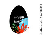 happy easter greeting card.... | Shutterstock .eps vector #596332331