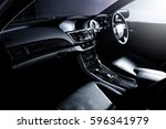clean console modern car  black ... | Shutterstock . vector #596341979