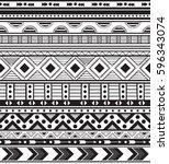 hand drawn vector boho seamless ... | Shutterstock .eps vector #596343074