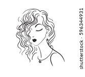 girl on white background ... | Shutterstock .eps vector #596344931