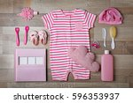 baby clothes and accessories on ...   Shutterstock . vector #596353937
