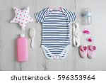 baby clothes and accessories on ... | Shutterstock . vector #596353964
