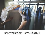 clothes shop costume dress... | Shutterstock . vector #596355821