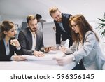 business people and architects...   Shutterstock . vector #596356145