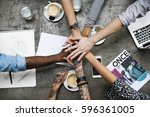 collaboration connection team...   Shutterstock . vector #596361005