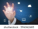 touch screen of virtual reality ...   Shutterstock . vector #596362685