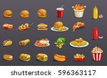 fast food without contour.... | Shutterstock .eps vector #596363117