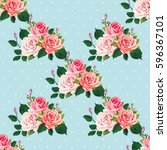 seamless floral pattern with... | Shutterstock .eps vector #596367101