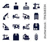 crane icons set. set of 16... | Shutterstock .eps vector #596368334