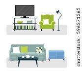 vector set of furniture of...   Shutterstock .eps vector #596371265