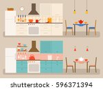vector kitchens with dining... | Shutterstock .eps vector #596371394