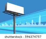 Outdoor Unipole Banner Billboard On A Blue City Silhouette Skyline Illustration