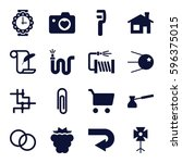 image icons set. set of 16... | Shutterstock .eps vector #596375015