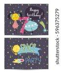 happy birthday cartoon spaces... | Shutterstock .eps vector #596375279
