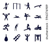 athlete icons set. set of 16... | Shutterstock .eps vector #596376989