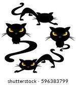 funny evil cats   black animals ... | Shutterstock .eps vector #596383799
