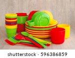 colored plastic ware. tableware ...   Shutterstock . vector #596386859