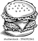 hamburger with salad and meat   ... | Shutterstock .eps vector #596392361