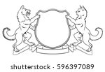 dog and cat crest coat of arms... | Shutterstock .eps vector #596397089