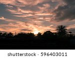 color sky and cloud at sunset. | Shutterstock . vector #596403011