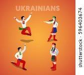 isometric ukrainian dancing... | Shutterstock .eps vector #596403674