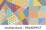 vector patchwork quilt pattern. ... | Shutterstock .eps vector #596409917
