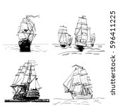 set of sketches of different... | Shutterstock .eps vector #596411225