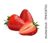 strawberry isolated on white... | Shutterstock .eps vector #596418761