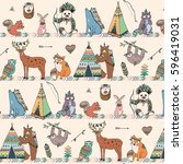 tribal animals woodland forest... | Shutterstock .eps vector #596419031