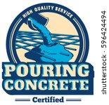 vector pouring concrete logo | Shutterstock .eps vector #596424494